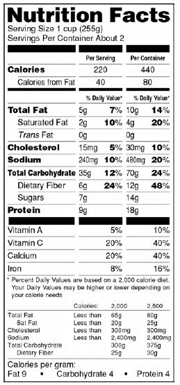 Nutrition Facts Template Word Blank Nutrition Label