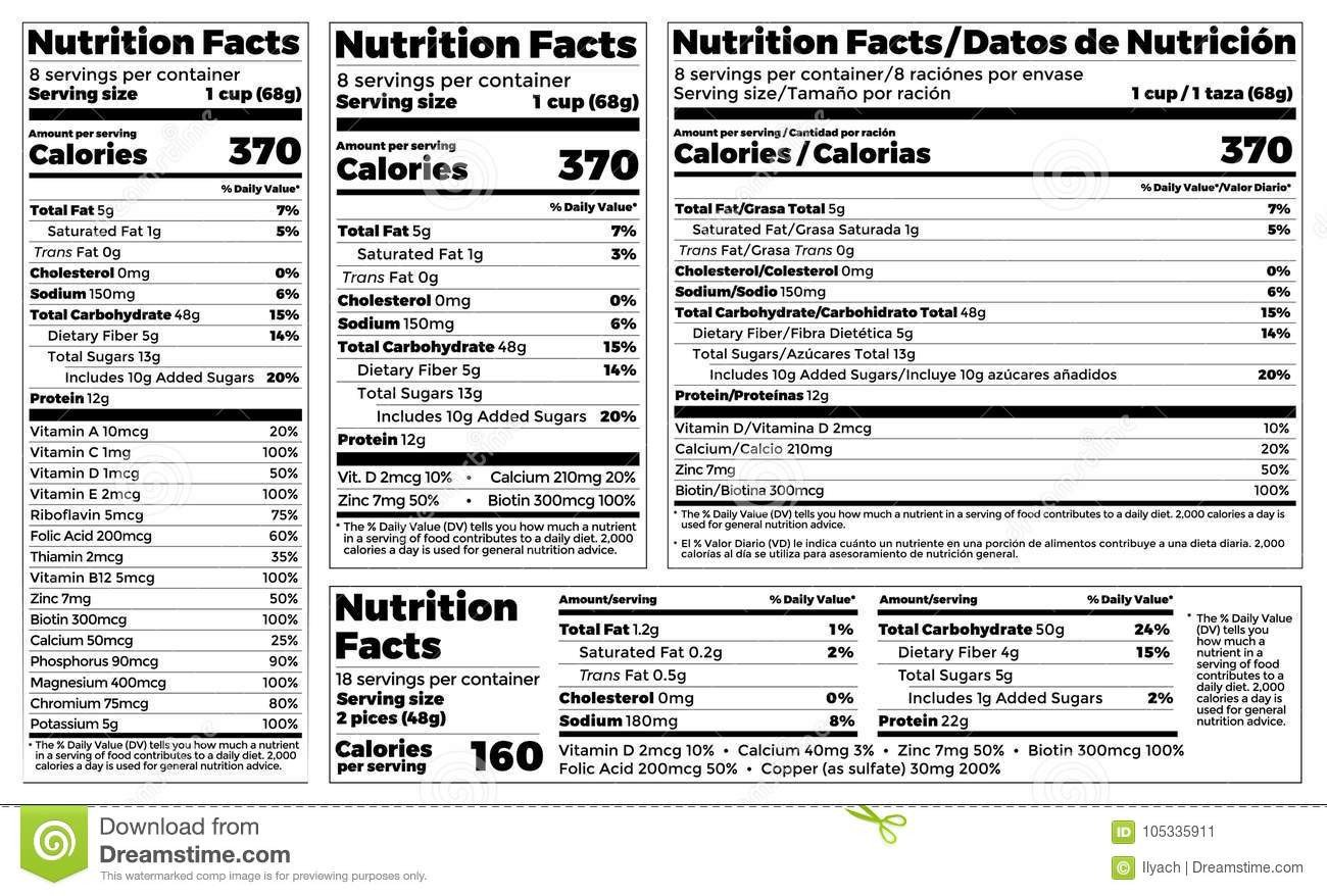 Nutrition Facts Template Word Serving Cartoons Illustrations & Vector Stock