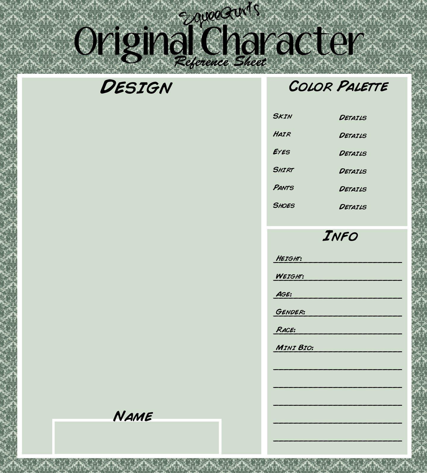 Oc Reference Sheet Template Deviantart Character Creation Sheets