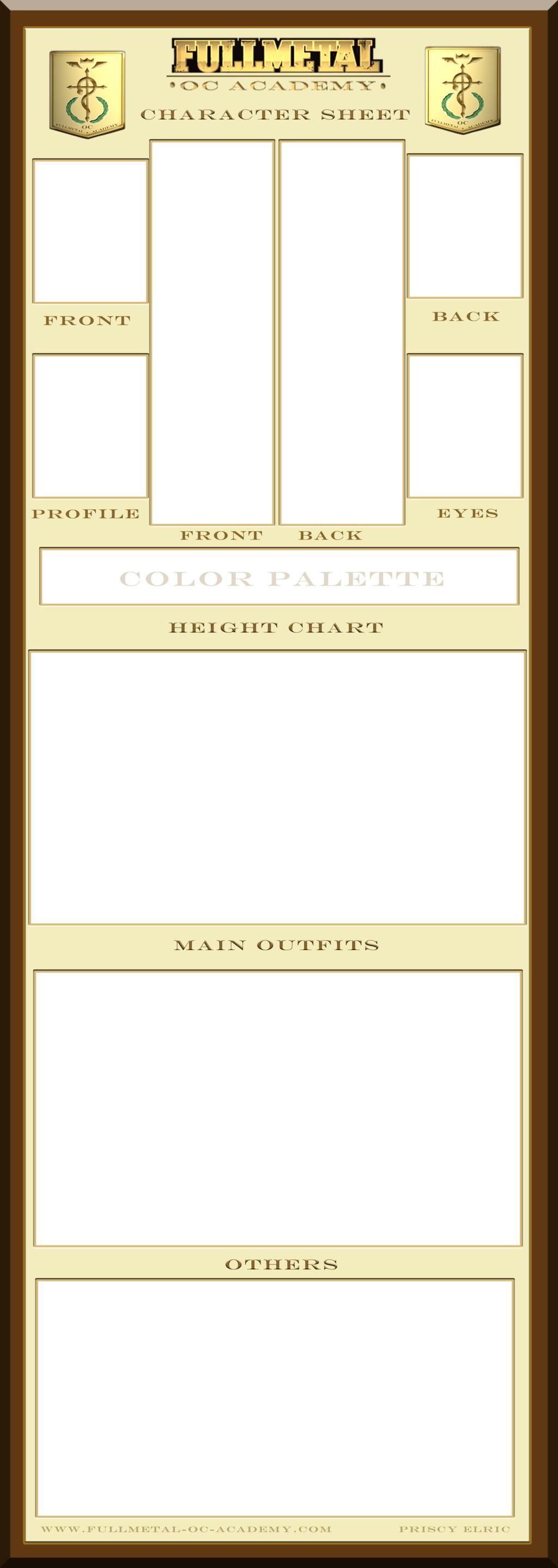 Oc Reference Sheet Template Fullmetal Oc Academy Character Sheet Template by Bitter