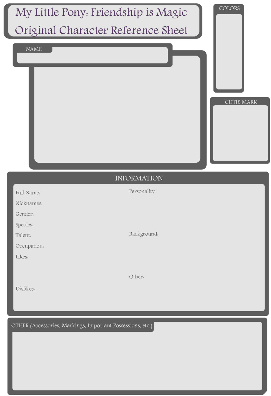 Oc Reference Sheet Template Pony Oc Blank Reference Sheet by origamizombie On Deviantart
