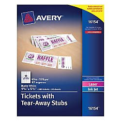 Office Depot Raffle Ticket Template Avery Printable Tickets White 200 Pk Fice Depot