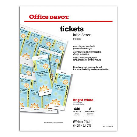 Office Depot Raffle Ticket Template Fice Depot Brand Inkjetlaser Tickets 5 12 X 2 18 Bright