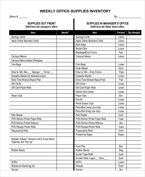Office Supplies Inventory Template 7 Fice Inventory Templates Free Sample Example
