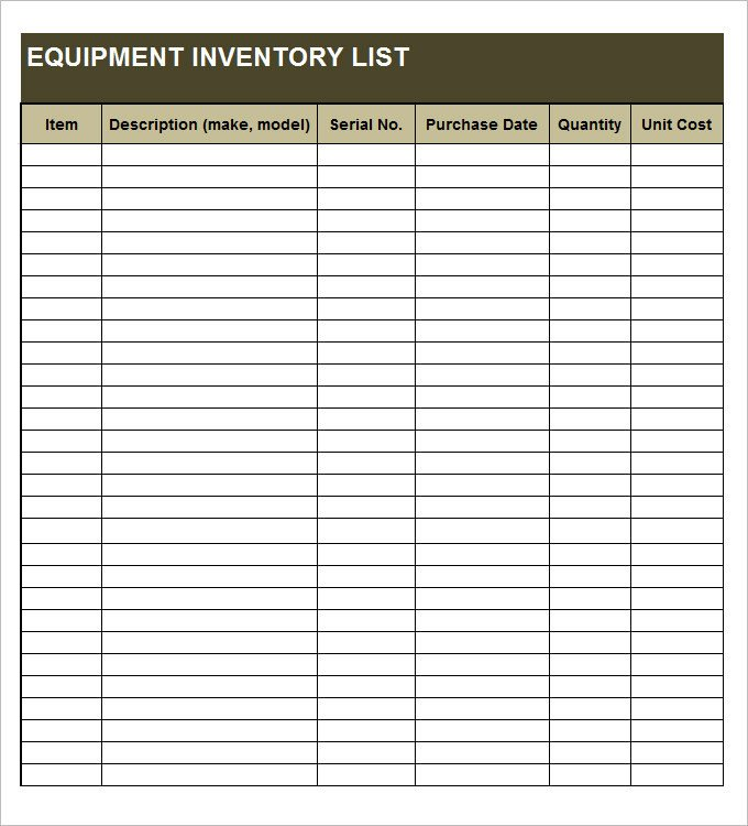 Office Supplies Inventory Template Equipment Inventory Template 14 Free Word Excel Pdf