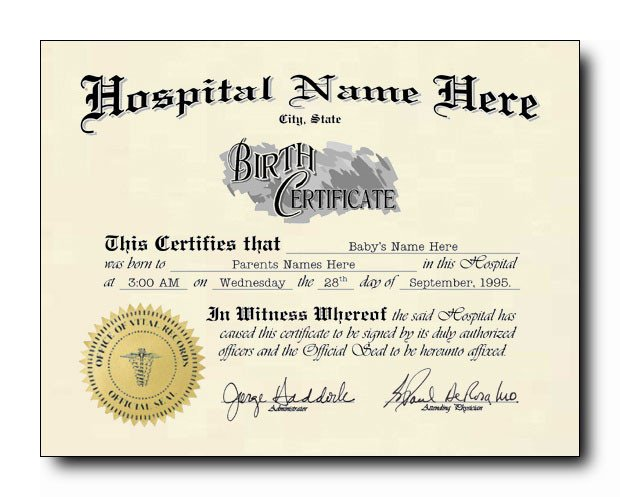 Old Birth Certificate Template E Option Means No Choice Half Blank