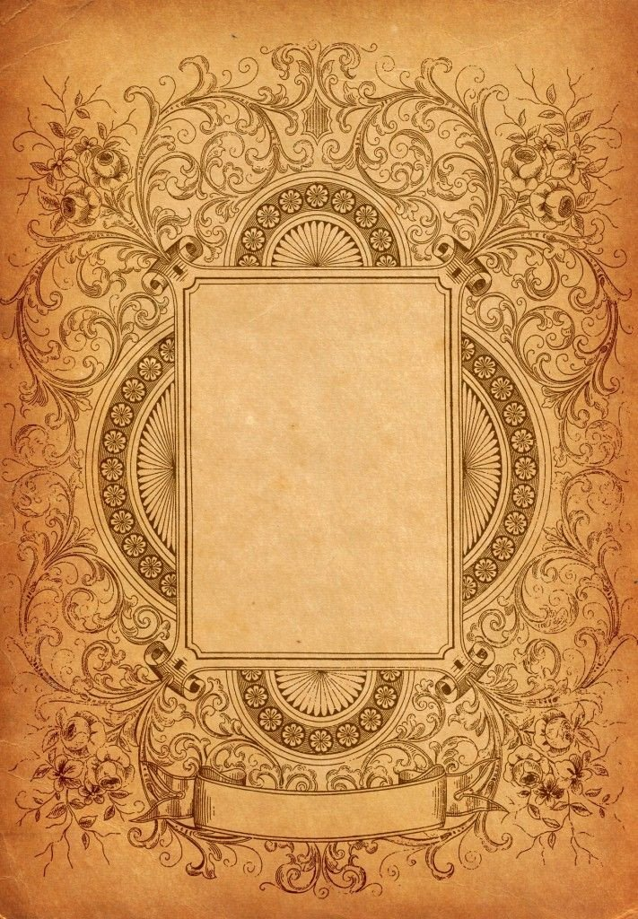 Old Book Cover Template ornate Decorative Border with Paper Texture Background