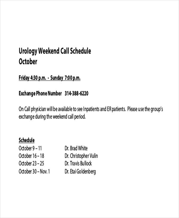 On Call Schedule Template Call Schedule Template 4 Free Excel Pdf Documents