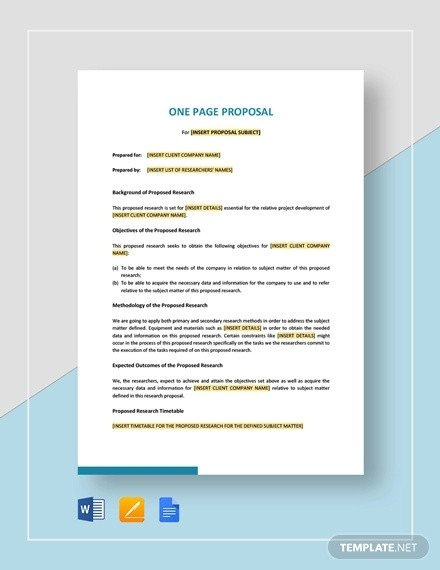 One Page Proposal Template Doc How to Write A E Page Proposal Templates Pdf Word