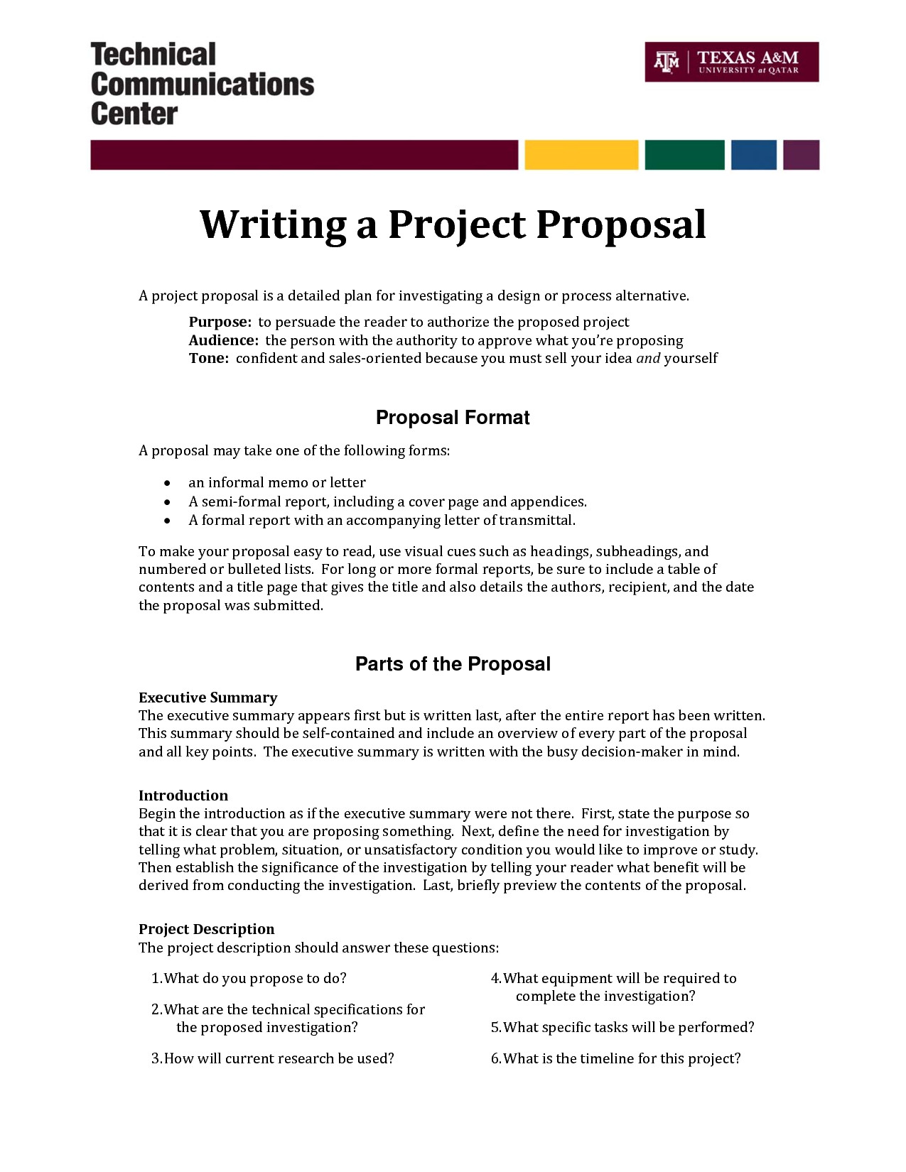 One Page Proposal Template Doc Informal Proposal Letter Example