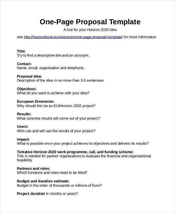 One Page Proposal Template Doc Proposal Template 31 Free Word Pdf Indesign format