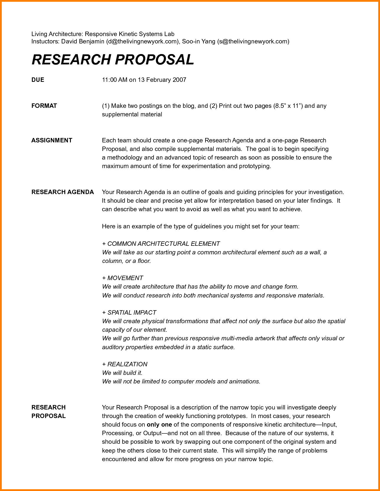 One Page Proposal Template Doc Simple Research Proposal Do the Job A Good Reading Analyze