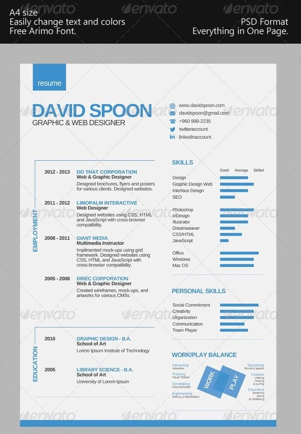 One Page Resume Template Awesome Free Resume Cv Templates 56pixels