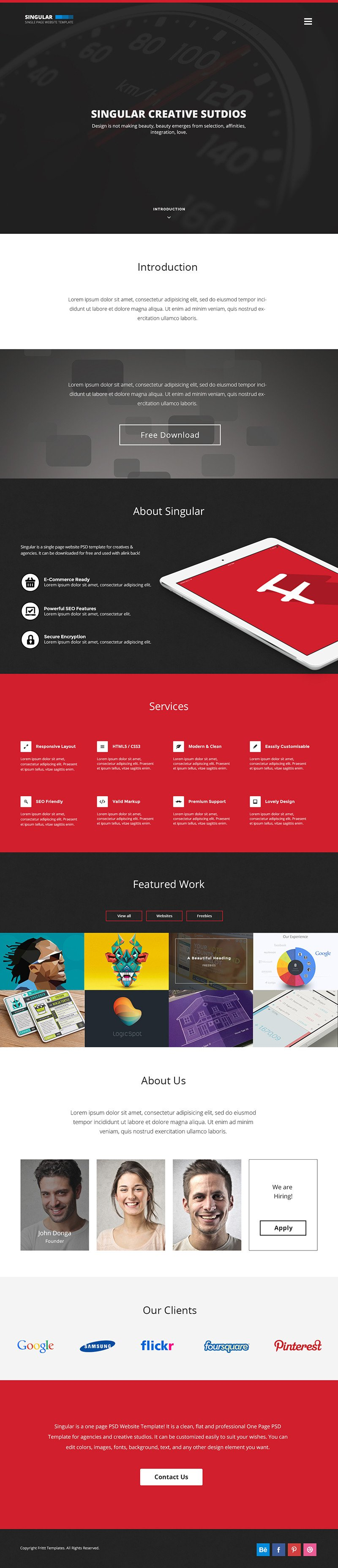 One Page Template Free 15 Best E Page Website Psd Templates for Web Designers
