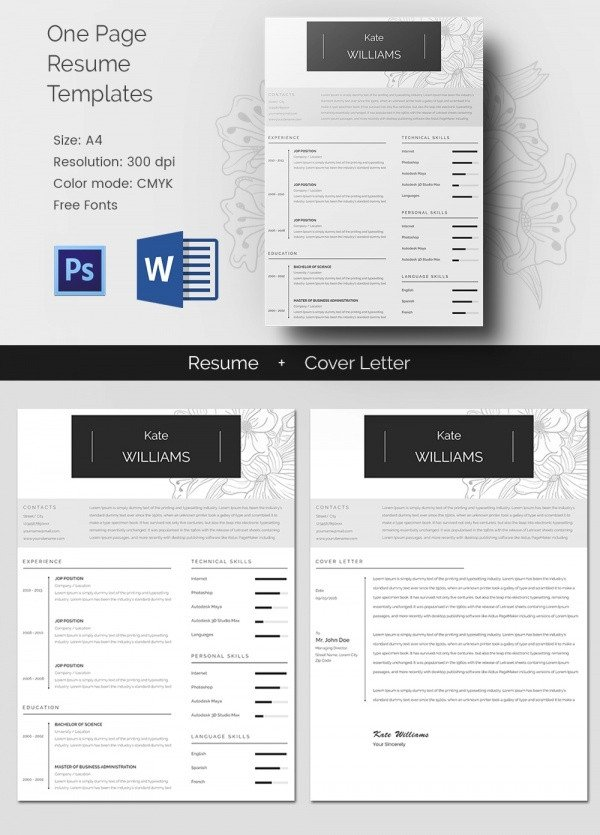 One Page Template Free Creative Resume Template 79 Free Samples Examples