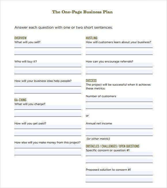 One Page Template Free E Page Business Plan Sample 10 Documents In Pdf Word