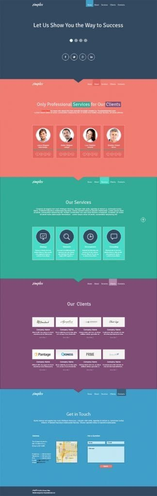 One Page Template Free Flat Monday Free Single Page Website Template for