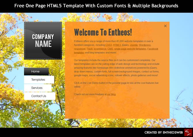 One Page Template Free Free E Page HTML5 Template with Custom Fonts & Multiple