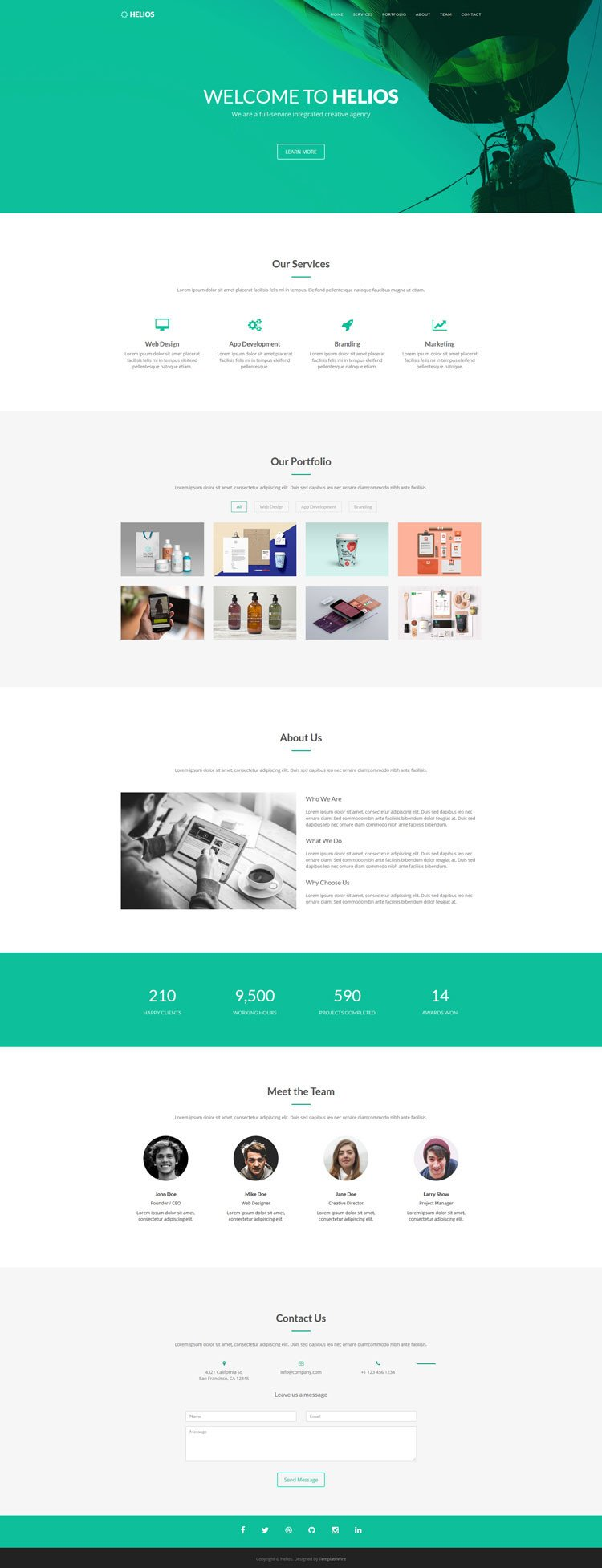 One Page Template Free Helios Free E Page Agency Template Bootstrap Templates