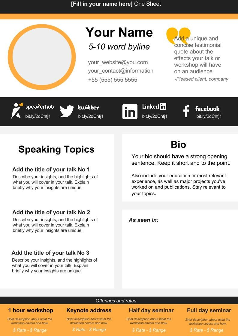 One Page Template Free Speaker E Sheet Template