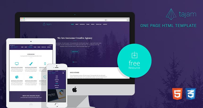 One Page Template Free Tajam – Free E Page HTML Template