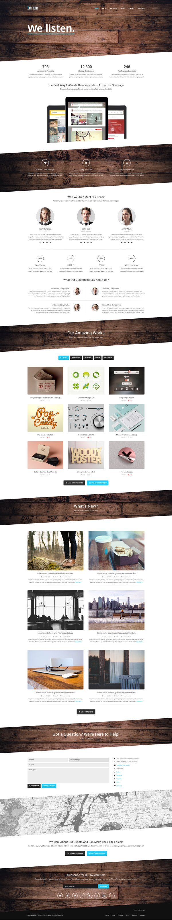 One Page Template Free Timber – Free E Page Bootstrap Template