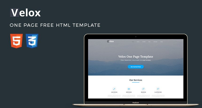 One Page Template Free Velox E Page Free HTML Template