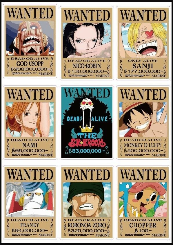 One Piece Wanted Posters E Piece Latest Wanted Posters Luffy Chopper Usopp New