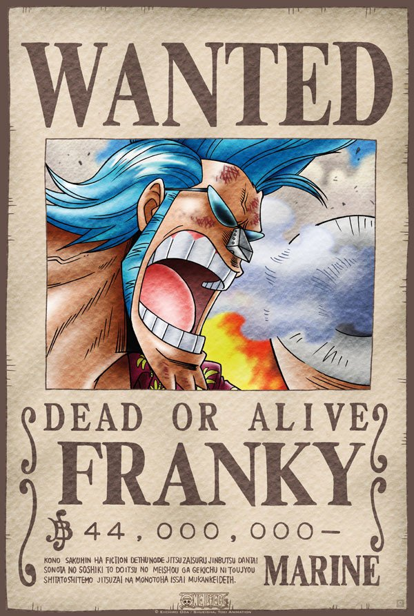 One Piece Wanted Posters E Piece Poster Wanted Franky