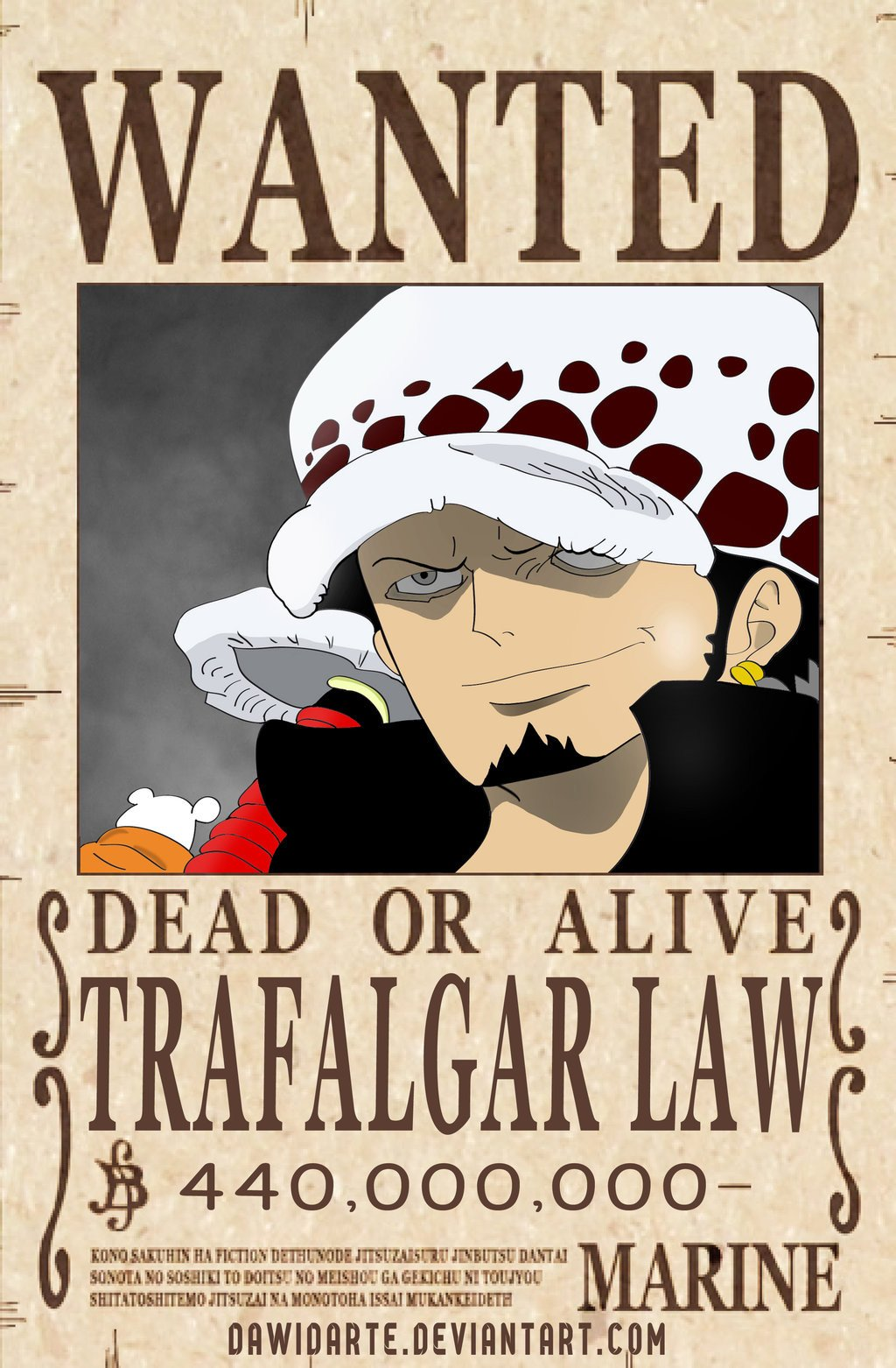One Piece Wanted Posters E Piece Trafalgar Law Ficial Wanted Poster by
