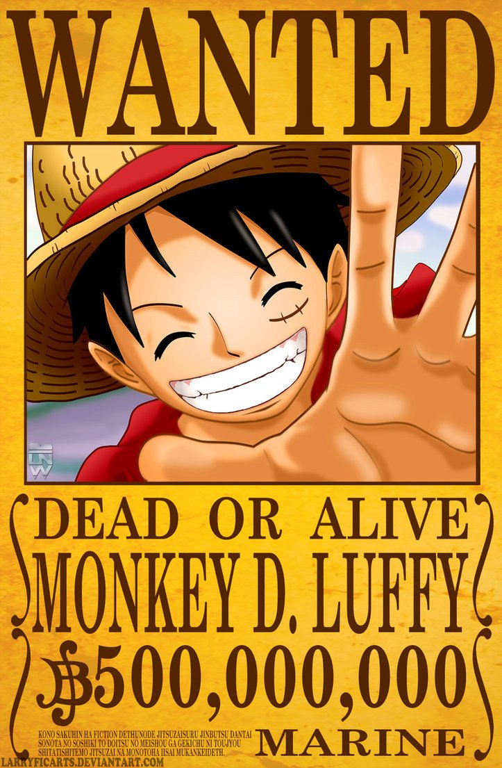 One Piece Wanted Posters Monkey D Luffy Wanted Poster by Larryficarts On Deviantart