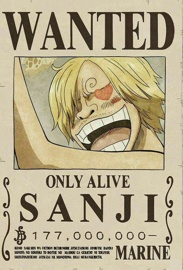 One Piece Wanted Posters Wanted Sanji E Piece Pinterest