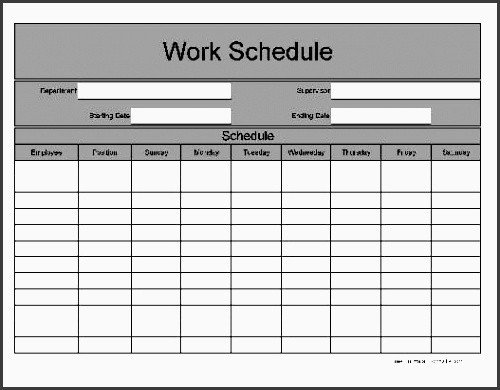 One Week Schedule Template 11 E Week Planner for Employees Sampletemplatess