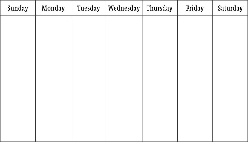 One Week Schedule Template Blank Calendars Weekly Blank Calendar Templates