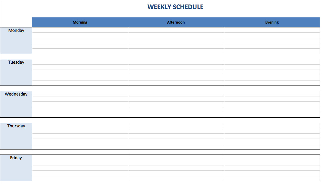 One Week Schedule Template Free Excel Schedule Templates for Schedule Makers