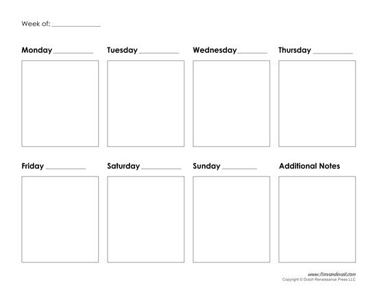 One Week Schedule Template Printable Weekly Calendar Template Free Blank Pdf