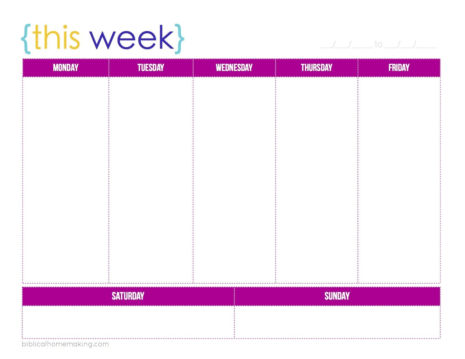 One Week Schedule Template This Week A Free Weekly Planner Printable Biblical