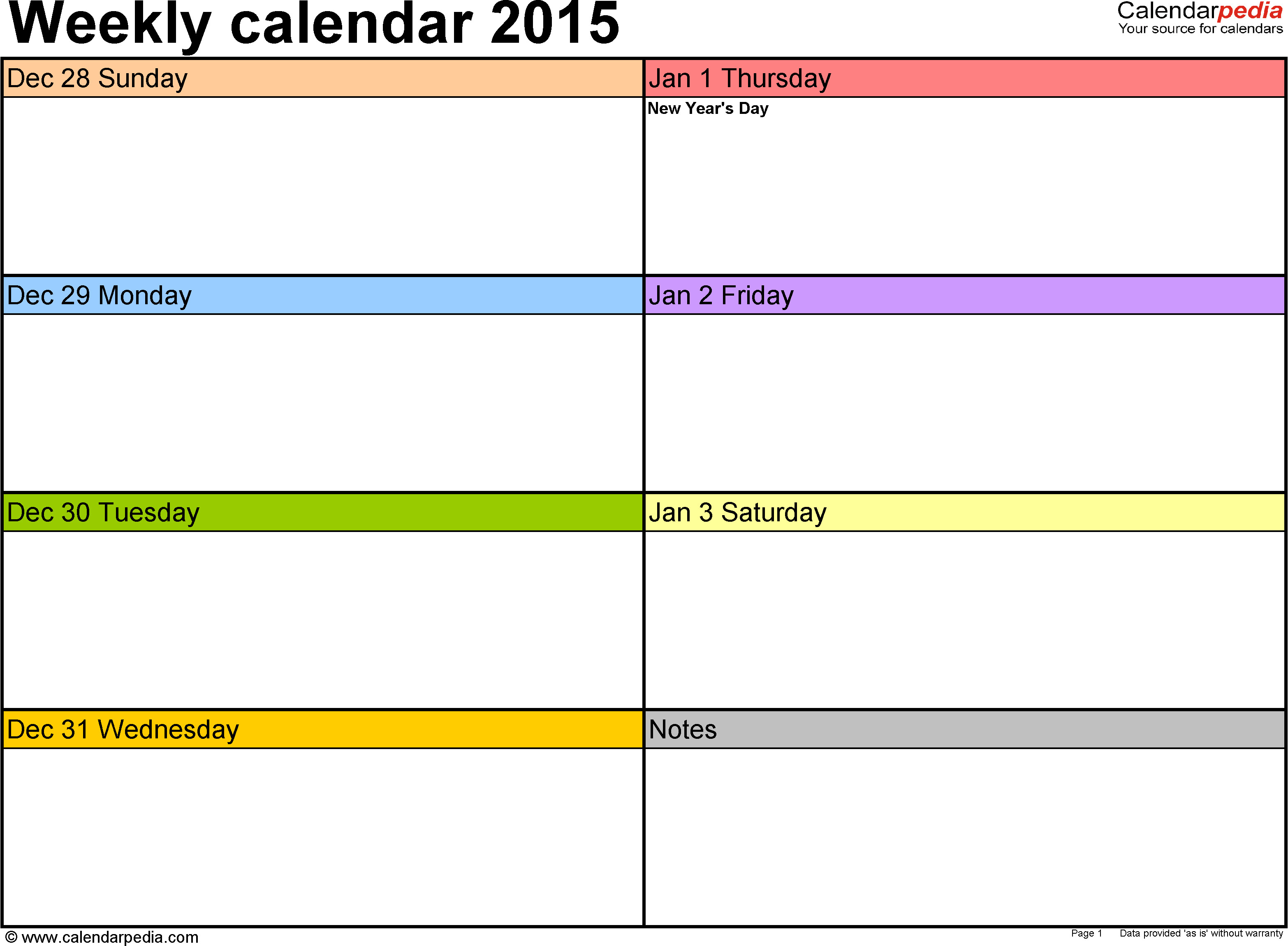 One Week Schedule Template Weekly Calendar 2015 for Excel 12 Free Printable Templates
