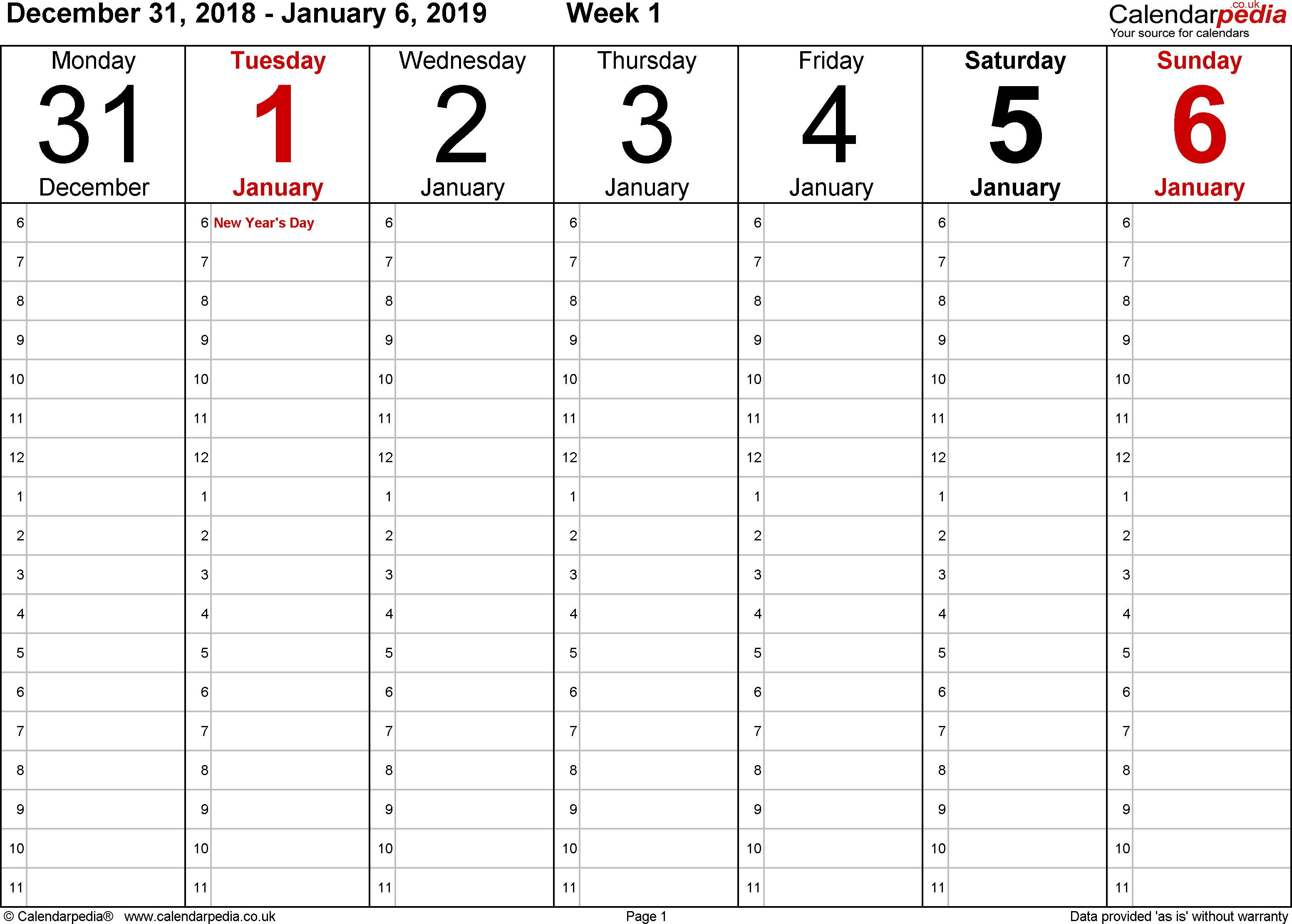 One Week Schedule Template Weekly Calendar 2019 Uk Free Printable Templates for Excel