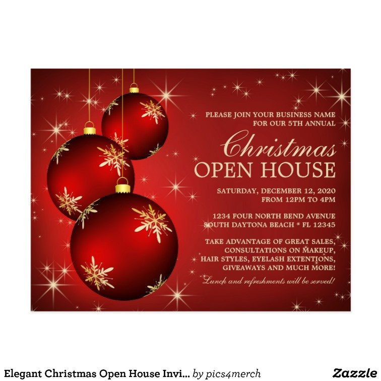 Open House Invitation Templates Elegant Christmas Open House Invitation Template Postcard