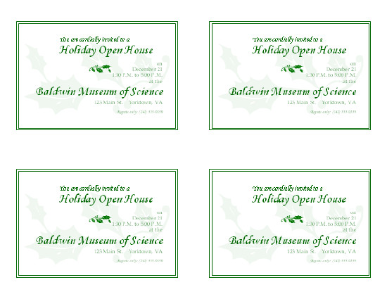 Open House Invite Templates Holiday Open House Invitation 4 Per Page