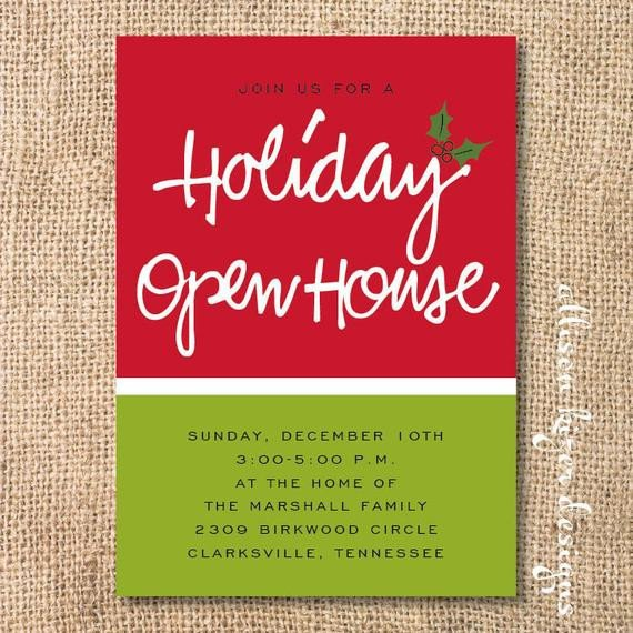 Open House Invite Templates Holiday Open House Printable Invitation