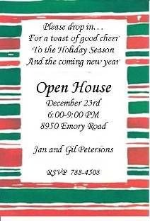 Open House Invite Templates order form Books Worth Reading