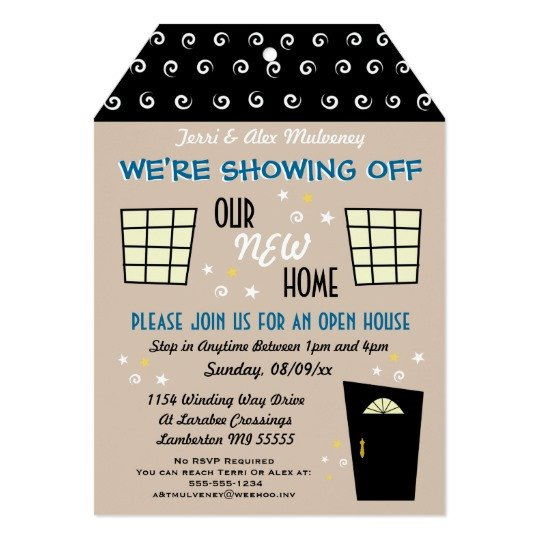Open House Invite Templates Whimsical Tag Cut Open House Invitation