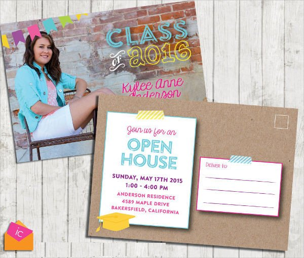 Open House Postcard Template 8 Graduation Invitation Postcards Designs Templates