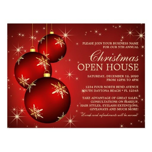 Open House Postcard Template Elegant Christmas Open House Invitation Template Postcard