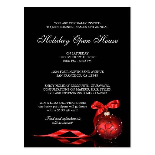 Open House Postcard Template Elegant Holiday Open House Invitation Templates Postcard
