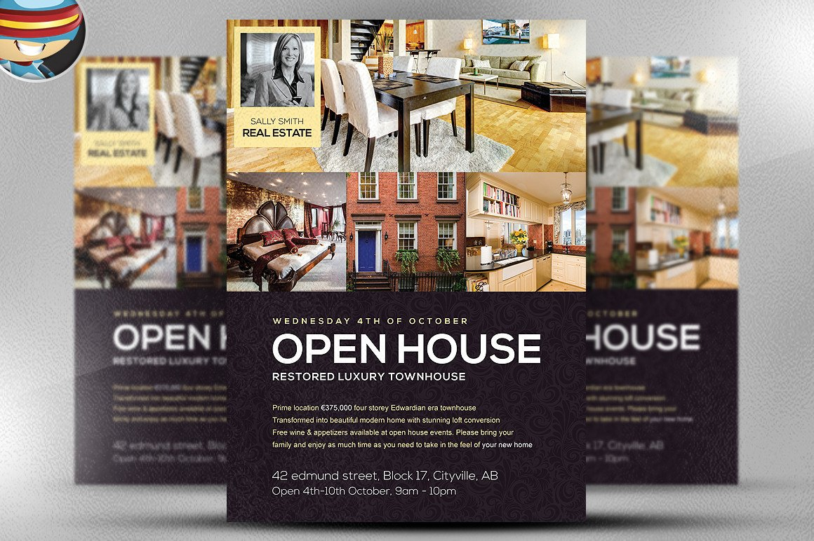 Open House Postcard Template Open House Flyer Template Flyer Templates On Creative Market