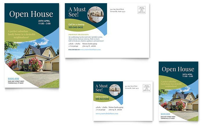 Open House Postcard Template Real Estate Marketing Postcards – Quick & Easy Templates