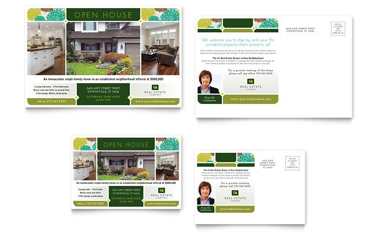 Open House Postcard Template Real Estate Postcard Template Word & Publisher